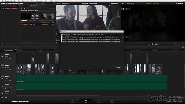 The music video: Importing an XML file: DaVinci Resolve 11 Essential Training