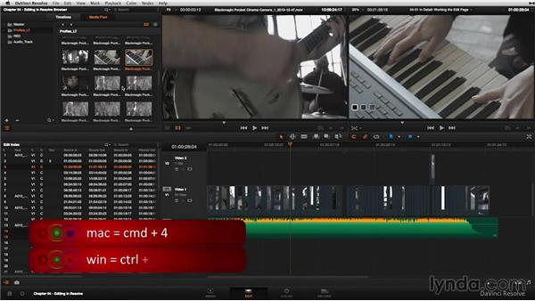 The Edit page in detail: DaVinci Resolve 11 Essential Training