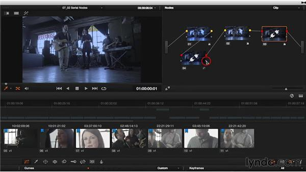 Adding, removing, deleting, and resetting serial nodes: DaVinci Resolve 11 Essential Training