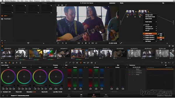 Changing the color space of a node: DaVinci Resolve 11 Essential Training