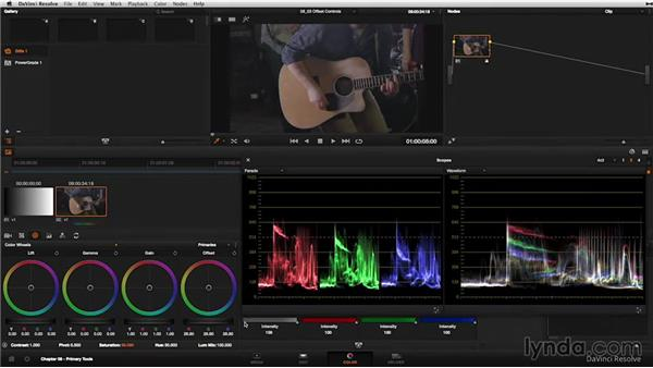 Primary color wheels: The Offset control: DaVinci Resolve 11 Essential Training