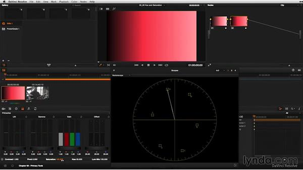 Adjusting hue and saturation: DaVinci Resolve 11 Essential Training