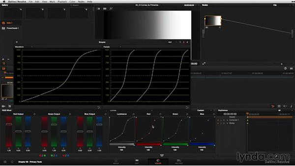 Using curves as primary corrections: DaVinci Resolve 11 Essential Training