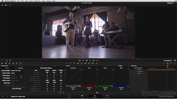 Raw controls: DaVinci Resolve 11 Essential Training