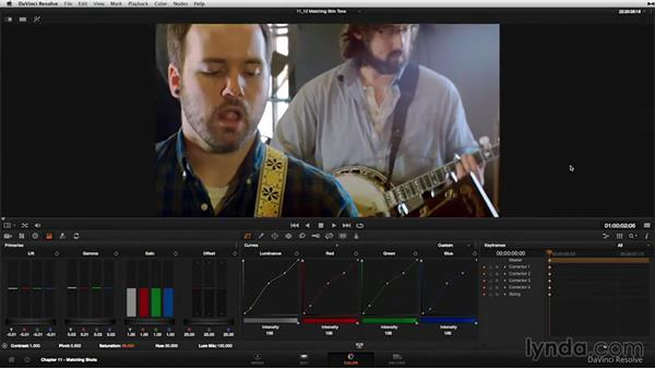 Matching skin tones: examples: DaVinci Resolve 11 Essential Training