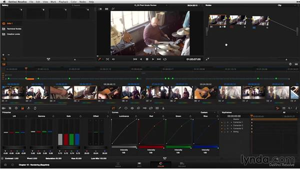 Breaking down the finished, graded music video: DaVinci Resolve 11 Essential Training