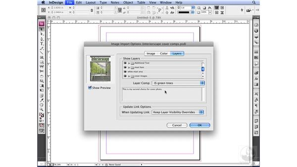 Accessing layer comps in InDesign: Photoshop CS3 for Designers