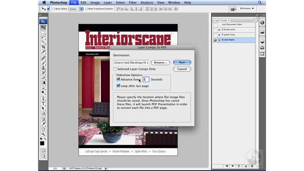 Exporting layer comps to PDF: Photoshop CS3 for Designers