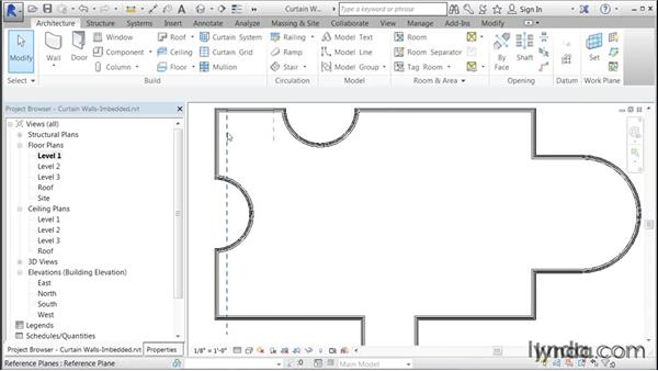 Adding an imbedded storefront curtain wall: Building Curtain Walls with Revit