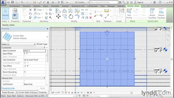Configuring the grid layout: Building Curtain Walls with Revit