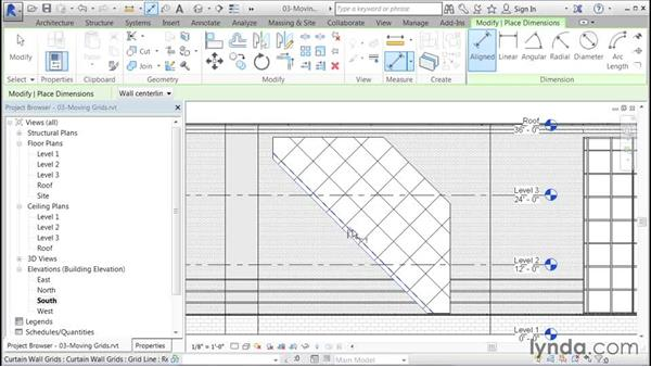 Moving a single curtain grid: Building Curtain Walls with Revit