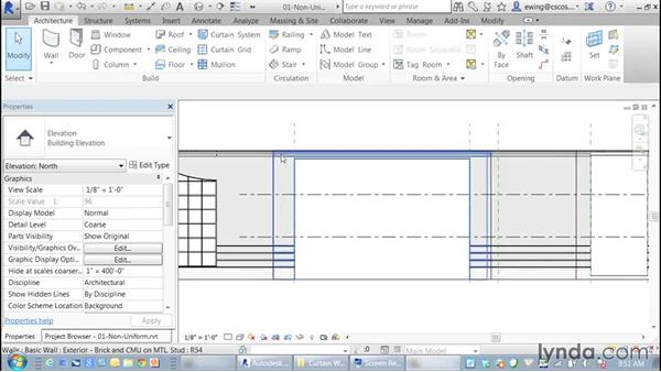 Creating non-uniform grids: Building Curtain Walls with Revit