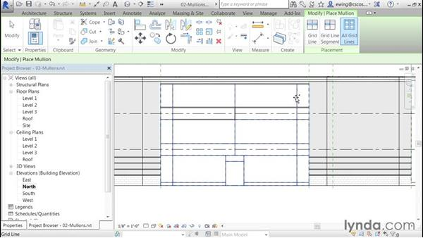 Adding mullions: Building Curtain Walls with Revit