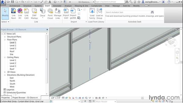 Framing and adding a curtain-wall door: Building Curtain Walls with Revit