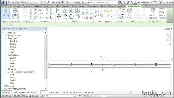 Editing the curtain-wall profile: Building Curtain Walls with Revit
