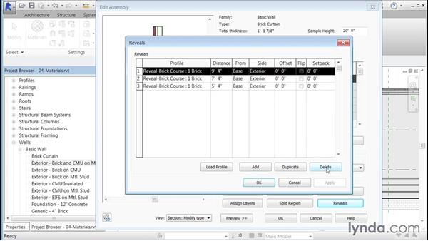 Adding materials to panels: Building Curtain Walls with Revit