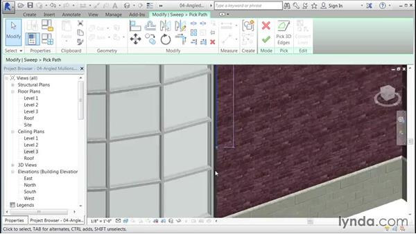 Creating perimeter mullions: Building Curtain Walls with Revit