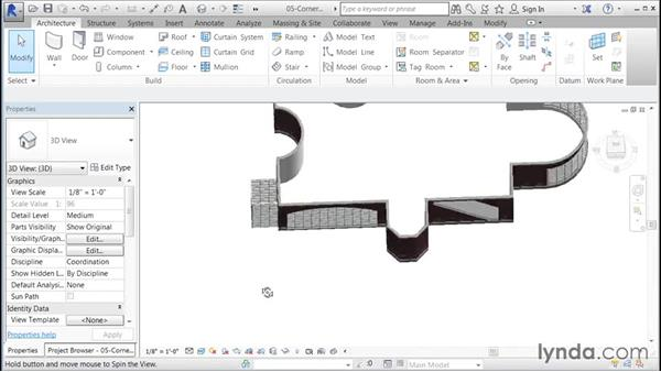 Creating a trapezoid corner with joined curtain walls: Building Curtain Walls with Revit