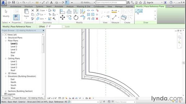Applying a custom mullion to a curtain wall: Building Curtain Walls with Revit