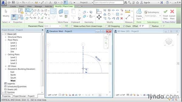Creating a free-form mass and adding panels: Building Curtain Walls with Revit