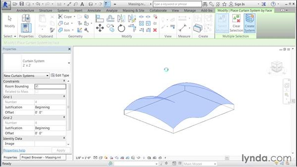 Adding a curtain system to a massing element: Building Curtain Walls with Revit