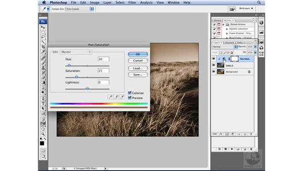 Utilizing built-in actions: Photoshop CS3 for Designers
