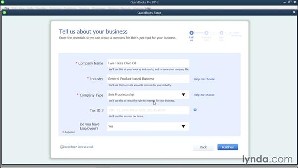 Setting up a new company file: QuickBooks Pro 2015 Essential Training