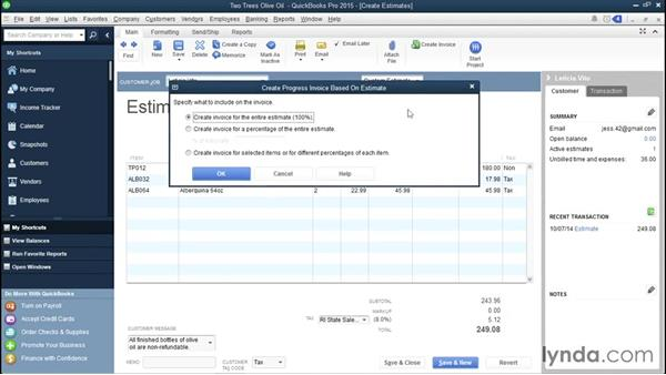 Progress invoicing customers: QuickBooks Pro 2015 Essential Training