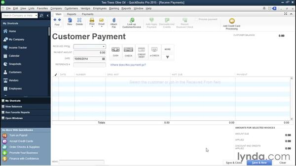 Receiving payments: QuickBooks Pro 2015 Essential Training