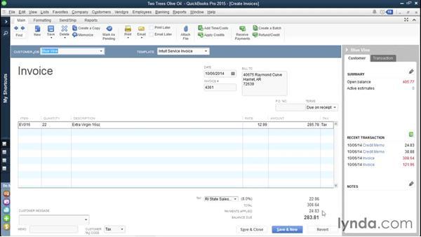 Handling customer credits: QuickBooks Pro 2015 Essential Training