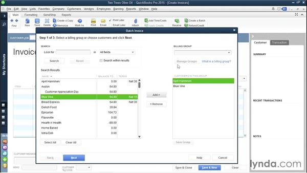 Grouping customers to batch invoices: QuickBooks Pro 2015 Essential Training