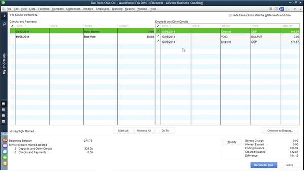 Reconciling bank accounts: QuickBooks Pro 2015 Essential Training