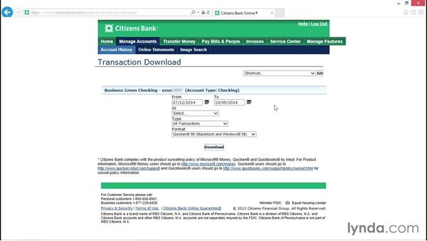 Setting up accounts for online banking: QuickBooks Pro 2015 Essential Training
