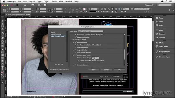 Custom preflight profile recommendations: InDesign Insider Training: Preflight and Printing