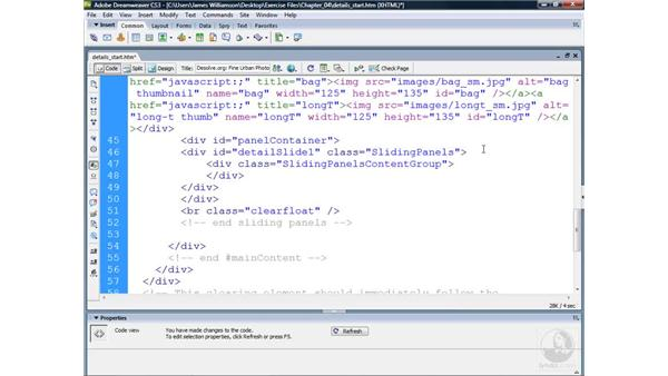 Defining page structure for Sliding Panels: Dreamweaver CS3 Projects: Creating Custom Spry Widgets
