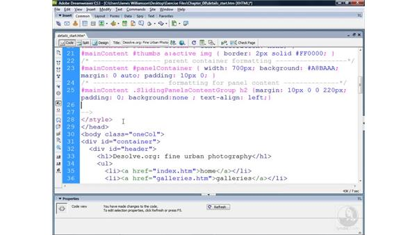 Styling Sliding Panels content: Dreamweaver CS3 Projects: Creating Custom Spry Widgets