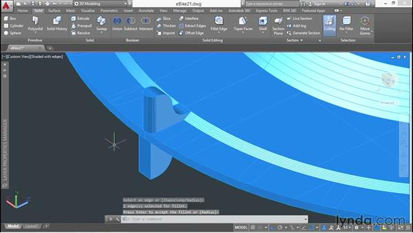 Filleting edges and arraying sprocket components: 3D Surface Model Design with AutoCAD