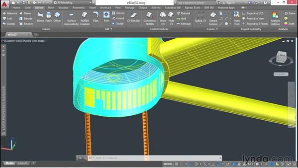 Continuing to build the drive unit: 3D Surface Model Design with AutoCAD