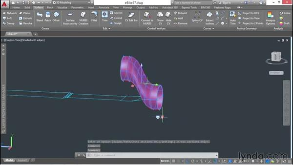 Lofting cross sections to create a complex form: 3D Surface Model Design with AutoCAD
