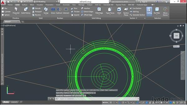 Modeling the front hub and cutting holes in it, for spokes: 3D Surface Model Design with AutoCAD