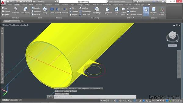 Extruding and subtracting regions: 3D Surface Model Design with AutoCAD