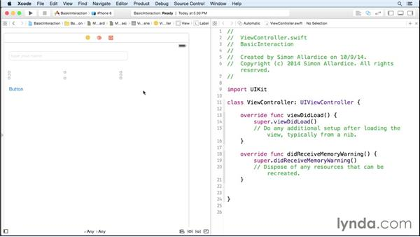 Creating basic interaction: iOS 8 App Development with Swift 1 Essential Training