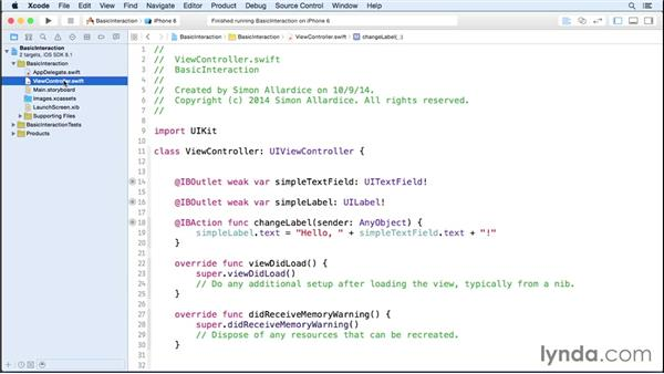 Using first responders: iOS 8 App Development with Swift 1 Essential Training