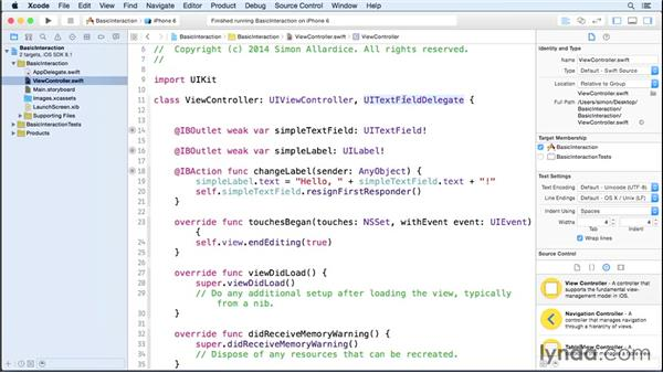 Dismissing the keyboard with delegation: iOS 8 App Development with Swift 1 Essential Training