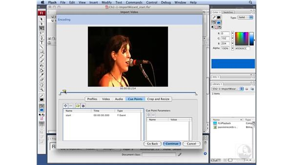 Adding embedded cue points: Flash CS3 Interactive Video Techniques