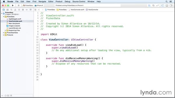 Loading data into controls: iOS 8 App Development with Swift 1 Essential Training