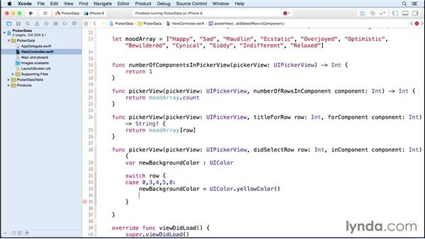 Responding to selection: iOS 8 App Development with Swift 1 Essential Training
