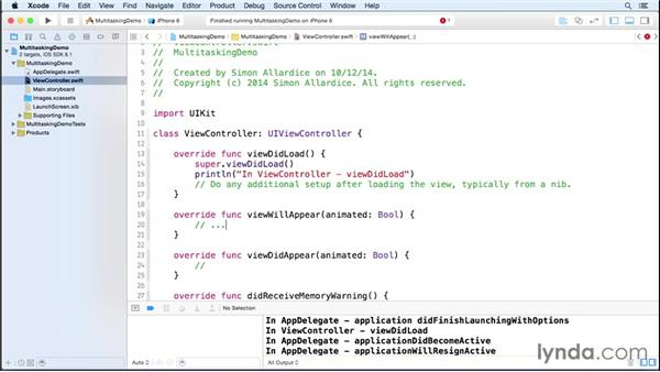 Working with foreground and background events: iOS 8 App Development with Swift 1 Essential Training