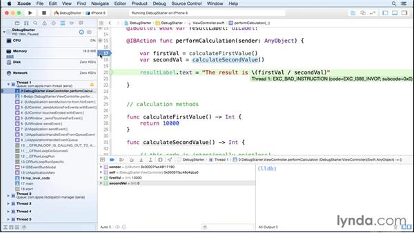 Introducing the debugger: iOS 8 App Development with Swift 1 Essential Training