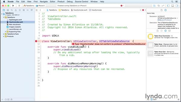 Creating a basic table view and a data source: iOS 8 App Development with Swift 1 Essential Training
